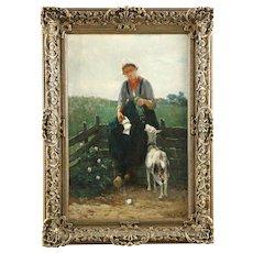 Dutch Barbizon Antique Painting of Girl Feeding Goat by David de la Mar