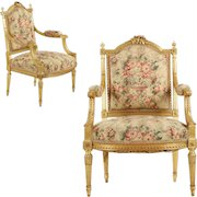 Pair of Finely Carved Louis XVI Style Giltwood Arm Chairs, c. 1900