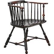 Fine Handmade American Windsor Style Lowback Arm Chair, 20th century