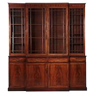 English George III Mahogany Breakfront Cabinet, c. 1790