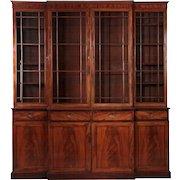 English George III Mahogany Breakfront Cabinet, c. 1790