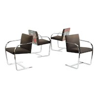 Set of Four Chromed BRNO Flat Bar Arm Chairs after Mies van der Rohe