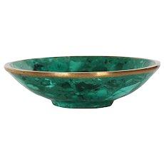 Vintage Natural Malachite and Bronze Bowl, 20th century