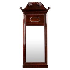 Neoclassical Mahogany Antique Carved Pier Wall Mirror, 19th Century