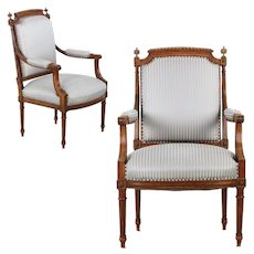Pair of French Louis XVI Style Carved Walnut Antique Arm Chairs