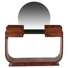 Art Deco Period Amboyna Mirrored Vanity Table c. 1930