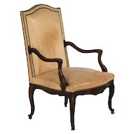 Antique French Leather Fireside Club Chair
