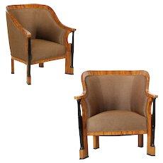 Pair of Ebonized Biedermeier Period Antique Tub Arm Chairs, Circa 1825