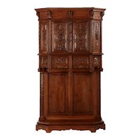 French Gothic Revival Intricately Antique Carved Cabinet Cupboard, circa 1880