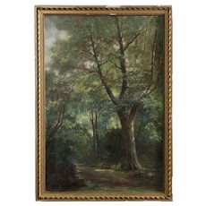 French Barbizon School Painting of Forest Scene, 19th Century
