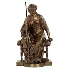 "Fine French Antique Bronze Sculpture of ""Seated Artemis"" by Etienne-Henri Dumaige"