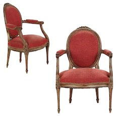 Pair of French Louis XVI Style Gray Painted Fauteuils Arm Chairs