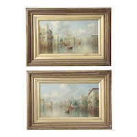 British School Pair of Grand Canal Venetian Paintings by James Salt