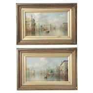 British School Pair of Grand Canal Venetian Paintings by James Salt