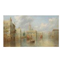 """""""A Venetian Capriccio"""" Antique Landscape Painting by James Salt (British, 1850-1903)"""