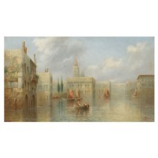 """A Venetian Capriccio"" Antique Landscape Painting by James Salt (British, 1850-1903)"