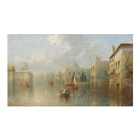 """""""Venetian Capriccio"""" Antique Landscape Oil Painting by James Salt (English, 1850-1903)"""