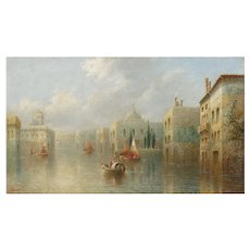 """Venetian Capriccio"" Antique Landscape Oil Painting by James Salt (English, 1850-1903)"