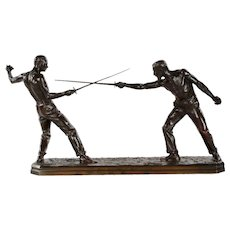 French Antique Bronze Sculpture of Two Fencers by Nicolas Mayer, 19th Century