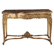 French Louis XV Style Giltwood Antique Center Table of Exceptional Quality