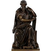 French Antique Bronze Sculpture of Philosopher by Eugene Laurent, 19th Century