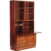 Poul Hundevad Danish Mid Century Modern Rosewood Secretary Desk with Bookshelf over Drawers