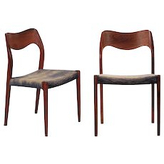 Pair of Niels Møller Danish Mid Century Modern Rosewood Side Chairs, Model 71