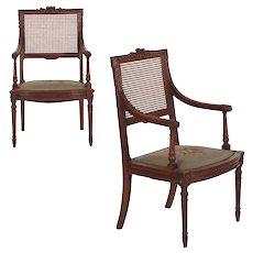 Pair of French Louis XVI Style Carved Walnut Antique Arm Chairs, 19th Century