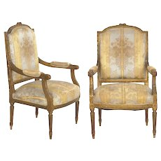 Pair of French Louis XVI Style Antique Fauteuil Arm Chairs, 20th Century