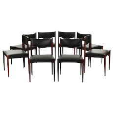 Set of Eight MCM Scandinavian Rosewood and Faux Leather Dining Chairs