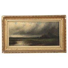 Barbizon School (19th Century) Antique Landscape Painting of Storm over Marsh
