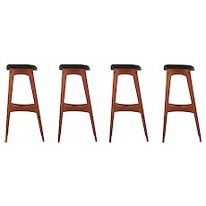 Set of Four Danish Mid Century Teak Bar Stools by Johannes Andersen c. 1961