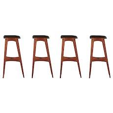 Set of Four Danish Mid Century Teak Bar Stools by Johannes Andersen c. 1961