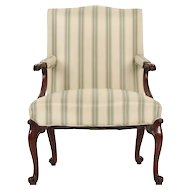 Fine English Chippendale Period Antique Lolling Arm Chair, late 18th century