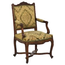 19th Century Antique French Louis XV Carved Arm Chair