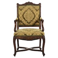 French Rococo Revival Carved Antique Arm Chair, 19th Century