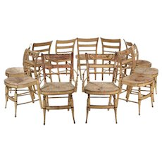 "Eleven American Sheraton ""Fancy"" Painted Antique Dining Chairs, New York c. 1815-30"