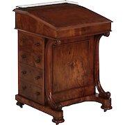 English Walnut and Leather Antique Davenport Desk, 19th Century