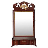 American Chippendale Mahogany Dressing Shaving Mirror, 18th Century