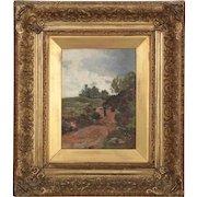 Barbizon School Landscape Painting of Figure on Path circa 1881