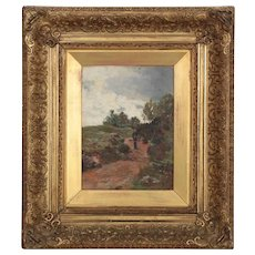 Barbizon School Landscape Painting of Figure on Path circa 1881