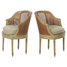 19th Century Pair of French Antique Arm Chairs in Green Paint