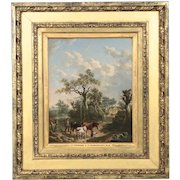 English Antique Oil Painting of Farmer with Animals, 19th Century