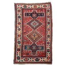 Circa 1900 Antique Caucasian Kazak Area Rug