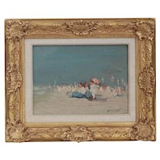 Fine Impressionism Painting of a Beach by Jaime E. Carret (American, 1878-1941)