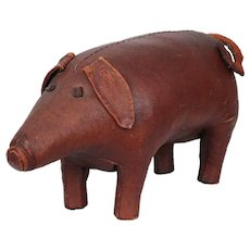 Vintage Leather Pig Footrest by Dimitri Omersa for Abercrombie & Fitch, England circa 1960s