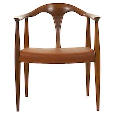 Vintage Mid Century Modern Sculpted Walnut & Leather Lounge Arm Chair