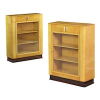 Fine Quality Pair of Art Deco Birch and Rosewood Bookcase Cabinets circa 1930