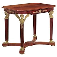 French Empire Mahogany Center Table w/ Sculpted Bronze Winged Figurals