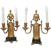 Edward Caldwell Co. Pair of Bronze Two-Light Candelabra Lamps circa 1900